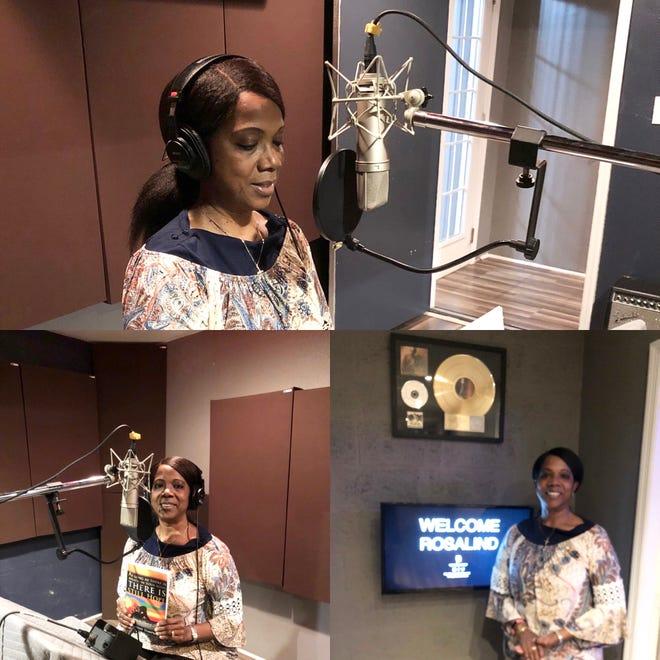 Rosalind Tompkins records her audio book at Goldie Sound Studio.
