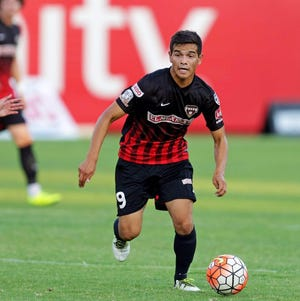 Former professional soccer player Joey Chica, shown here playing for Fresno Fuego, was recently named the head boys soccer coach at Redwood High School.