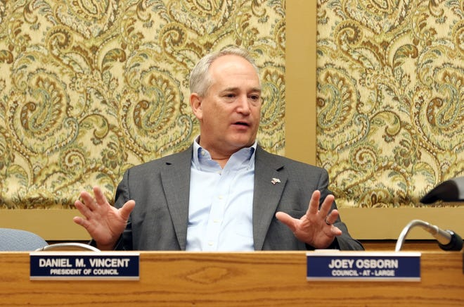 Ohio Auditor of State Keith Faber speaks during a meeting with Zanesville Mayor Don Mason, State Senator Tim Shaffer, State Representative Adam Holmes and a number of other local officials in City Council Chambers on Thursday. Faber talked about some of the conditions attached to CARES Act money.