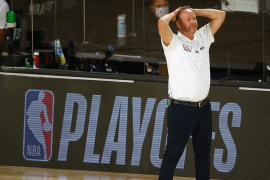 Milwaukee Bucks head coach Mike Budenholzer reacts during the second half of Game 2 against the Miami Heat.