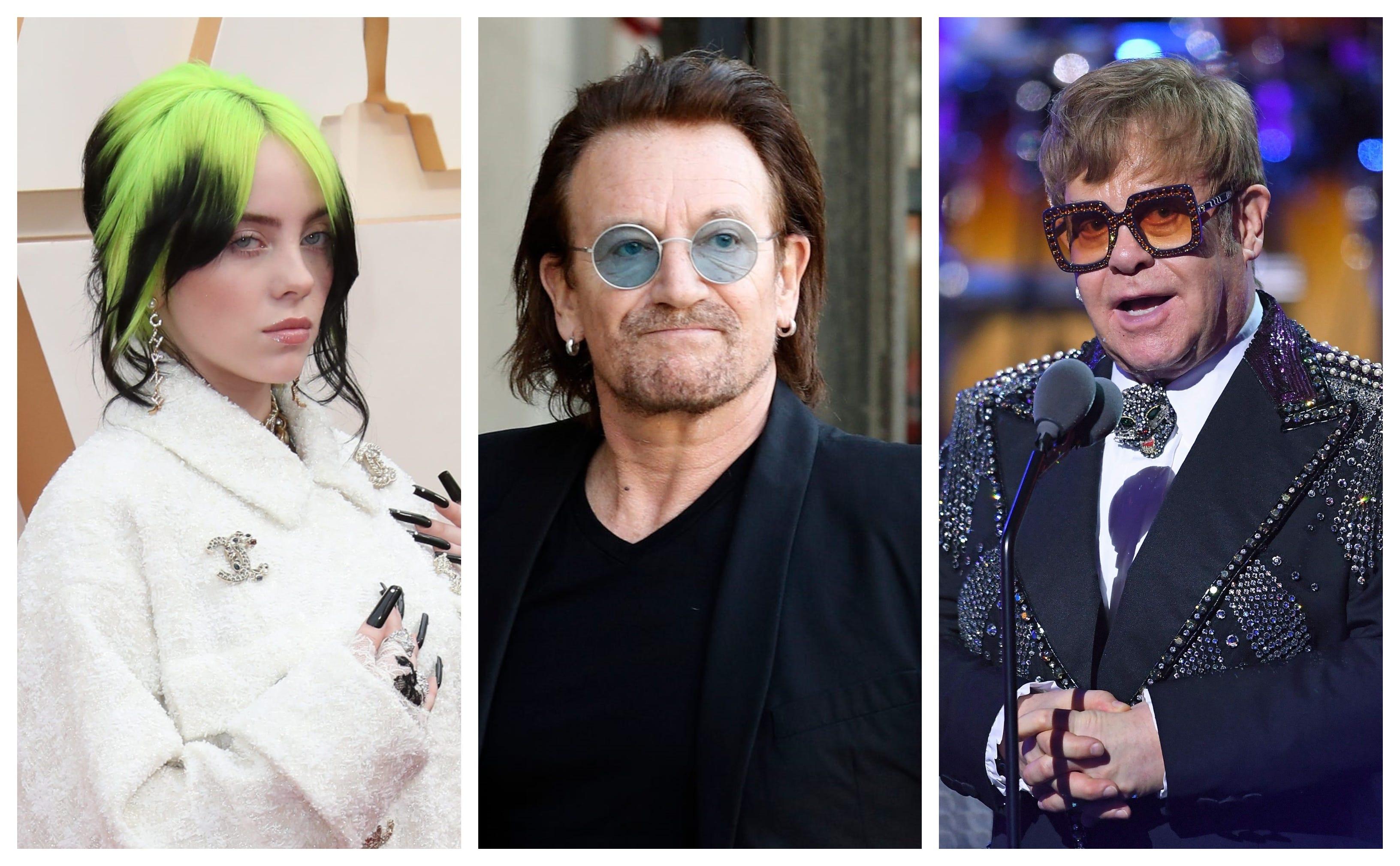 Billie Eilish s ukulele, Bono s signed lyrics and Elton John s suit are up for grabs at MusiCares auction