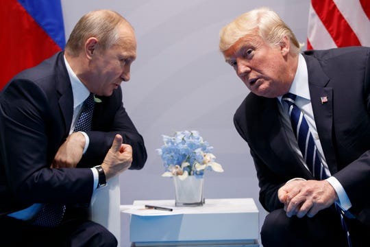 President Donald Trump meets with Russian President Vladimir Putin at the G-20 Summit, in Hamburg, Germany, on  July 7, 2017.