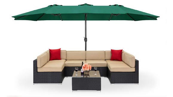 This large outdoor umbrella is one of many potential patio items to save on right now.
