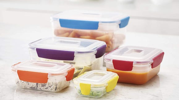 These lids snap on easy and keep containers sealed tight.