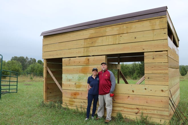 Brad and Gina Perkins built a temporary structure to house animals during fundraising events, but are hoping to raise more than $35,000 to build a permanent care farm facility.