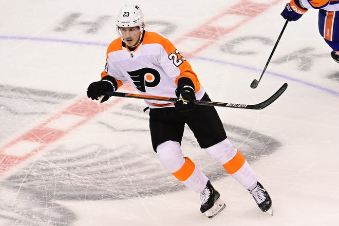 Flyers left wing Oskar Lindblom skates up the ice during the second period Thursday night.