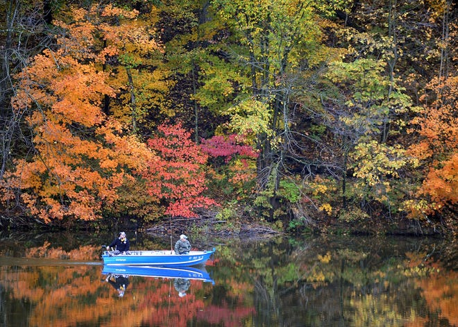 Spectacular color can be seen in Pennsylvania's woodlands in the fall such as these trees in the Ambridge Reservoir.