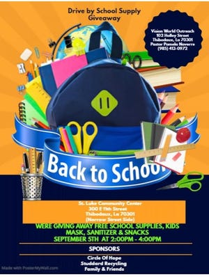 Back-to-school giveaway to be held Saturday in Thibodaux.