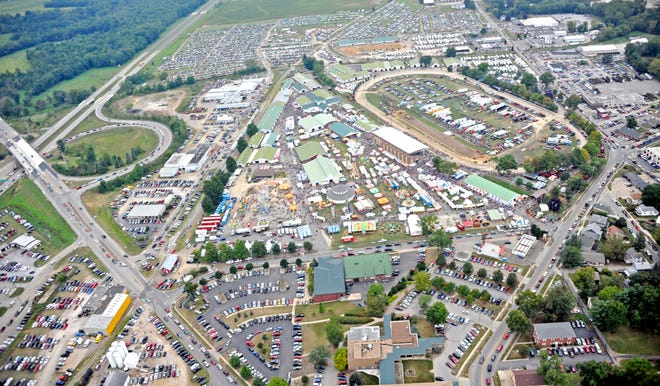 The Wayne County Fair will be far less crowded than this aerial view from 2015 shows of the fairgrounds. Rides, games and entertainment were canceled to limit patrons at the fair this year.