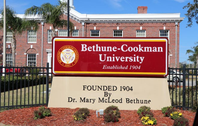 The sign in front of Bethune-Cookman University in Daytona Beach.