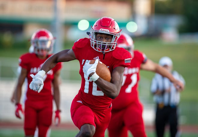 Van Horn senior receiver Arlandes Mitchell sprints down the field on a 68-yard kickoff return for a touchdown to open Thursday's game against Kansas City Northeast. Mitchell added four more scores as the Falcons rolled to a 43-6 victory.