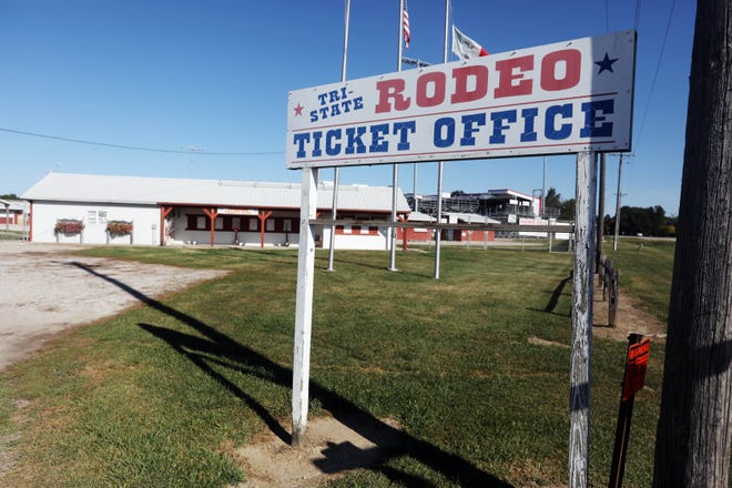 The Tri-State Rodeo ticket office, after the 2020 rodeo was cancelled, due to COVID-19 Sept. 4 in Fort Madison. The rodeo will make its return Sept. 8.