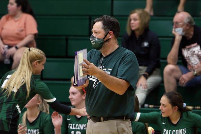 West Burlington High School's head coach Tom Ferguson  during their match against Van Buren County, Thursday Sept. 3, 2020 at West Burlington.