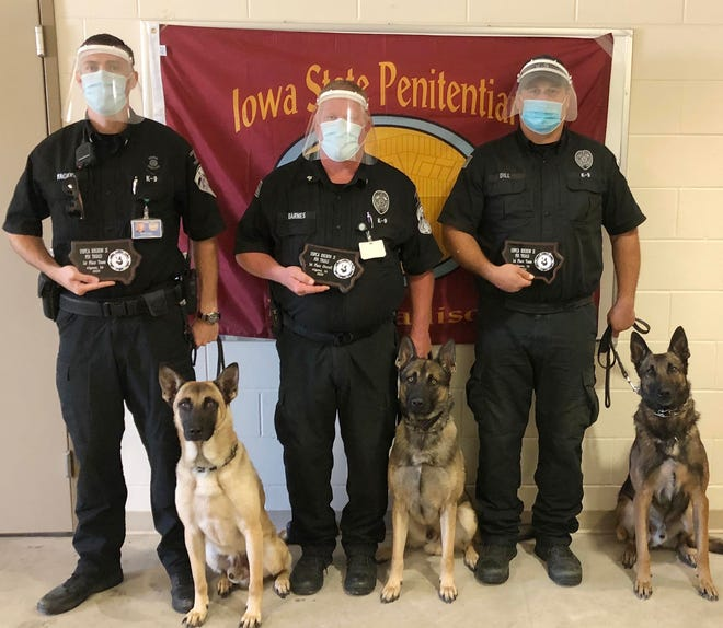 The Iowa State Penitentiary canine team consists of, Sgt. Dustin Yager with K-9, Maverick, Sgt.  Mike Barnes and K-9, Justice, and Sgt. Steve Dill with K-9, Rosco.