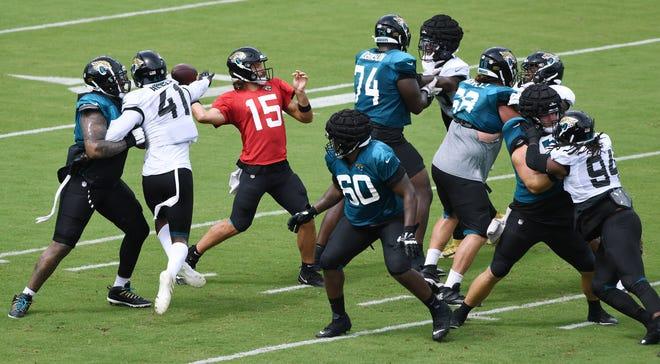 Jaguars quarterback Gardner Minshew II (15) targets a receiver during a preseason scrimmage.