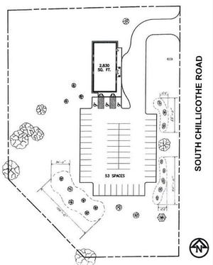 This illustration shows the layout of the proposed Jehovah's Witnesses Kingdom Hall property on Route 43 south of Mantua Grain & Supply.