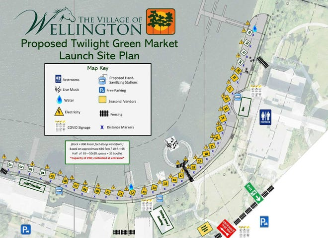 This site plan shows how Wellington and Festival Management Group are preparing to meet CDC recommendations for preventing the spread of COVID-19 at the Twlight Farmers Market. Booths will be 10 feet apart, CDC guidelines will be posted and there will be hand sanitizer stations.