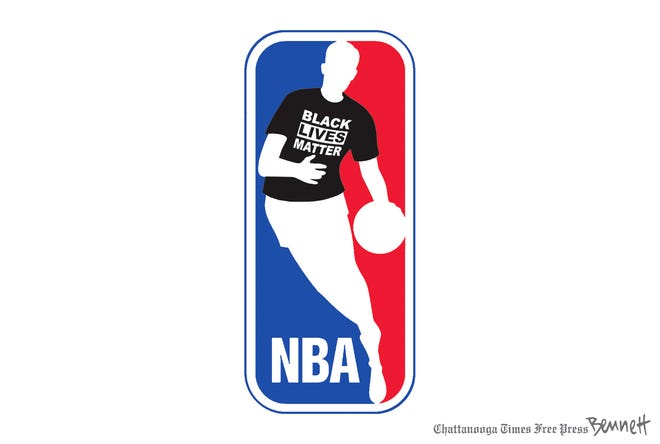 Editorial cartoon on NBA players walk-out over racial injustice.