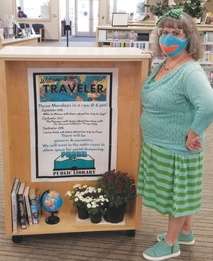 Pratt Public Library activites director promotes the next Traveler Series which will feature Egypt, the American Institute for Foreign Travel and Kenya the next three Mondays in September.
