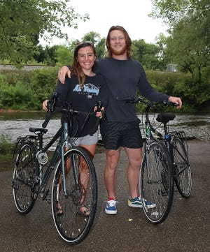 Having returned recently from a bike trip across the country, Tori Casamento will begin work at Suffield Elementary School as an educational assistant in special education and Brandon Berry will work at PF Chang's in Fairlawn as he makes plans to pursue a career as a school counselor.