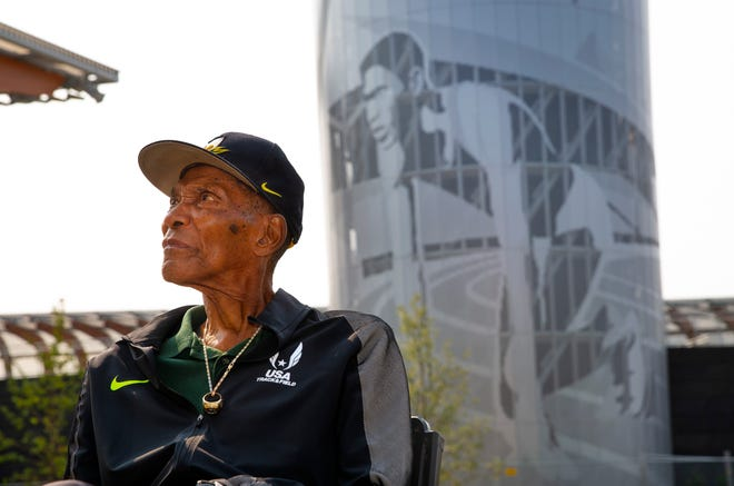 Oregon Olympic gold medal winner Otis Davis returned to Hayward Field on Friday to tour the new facility and have a look at the likeness of himself that adorns the side of the tower outside of turn three. [Chris Pietsch/The Register-Guard]