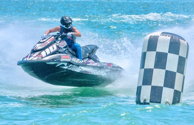 A rider competes in the Liqui Moly Pro Watercross Tour event in Vilano Beach in August.