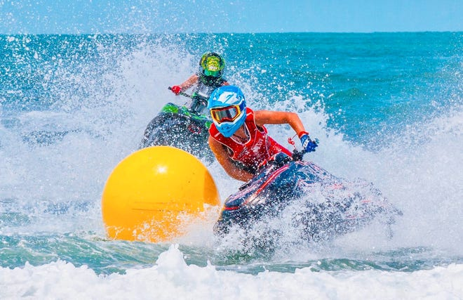 Riders compete in the Liqui Moly Pro Watercross Tour event in Vilano Beach in August.