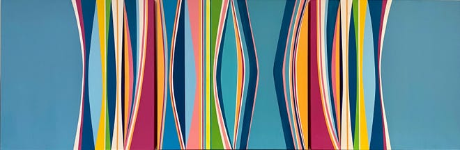 """""""Color Flow Triptych"""" by Bettina Sego is featured in the show """"Harmony"""" at 530 Burns Gallery."""