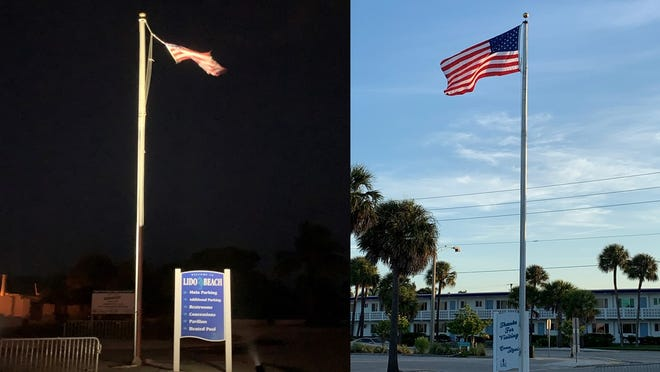 A weather-beaten flag illuminated at night near the Lido Beach Pavilion and its replacement.