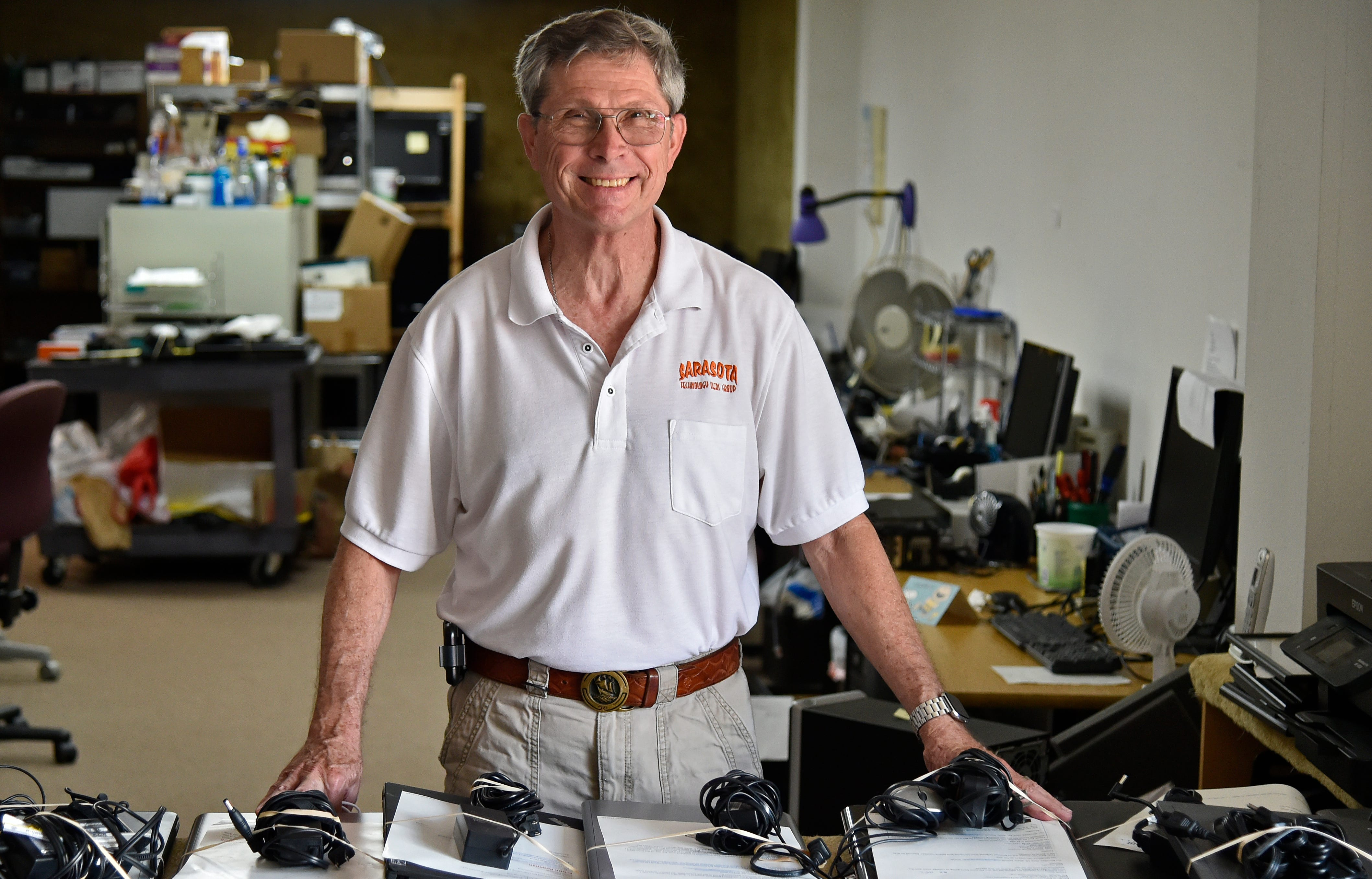 Mike Hutchinson of the Suncoast Technology Users Group, which refurbishes and donates more than 1,000 computers back into the community every year.