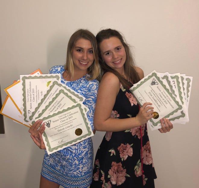 Tatem Loucks and Erin Szablowski, Venice High School class of 2019, with their Senior Night awards.