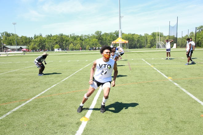 Players run through drills at VTO Sports 2020 Elite 100 Camp, held in Charlotte.