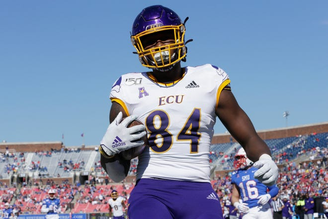 ECU tight end Zech Byrd and the Pirates kick off their season Sept. 26 against UCF.