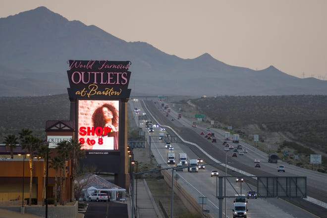 This view looking south shows Interstate 15 seen from The Outlets at Barstow.