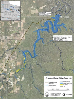 The proposed Cedar Ridge Reservoir.