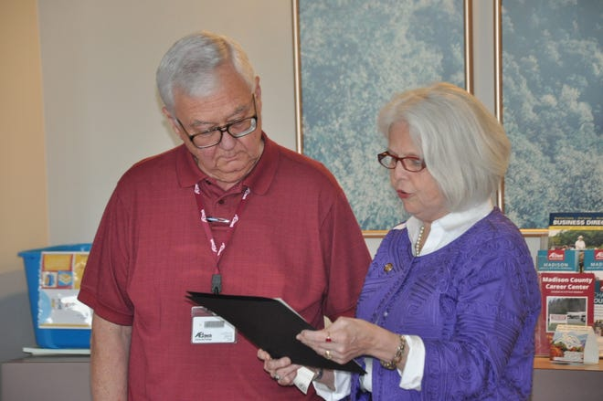 Norris Gentry, here accepting recognition from State Rep. Michele Presnell in 2017, is recovering well after testing positive for the coronavirus Aug. 25.