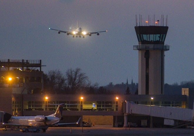 A Boeing 747 Jumbo jet carrying members of the Vermont Air National Guard returning from a three-month deployment to the Middle East lands at the airbase at the Burlington International Airport in South Burlington on Thursday, February 23, 2017.