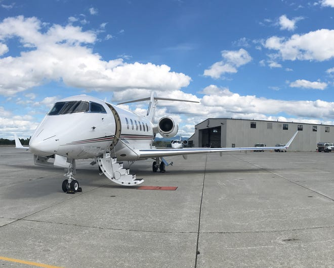 A privately owned jet sits at Heritage Aviation at Burlington International Airport on Sept. 4, 2020.