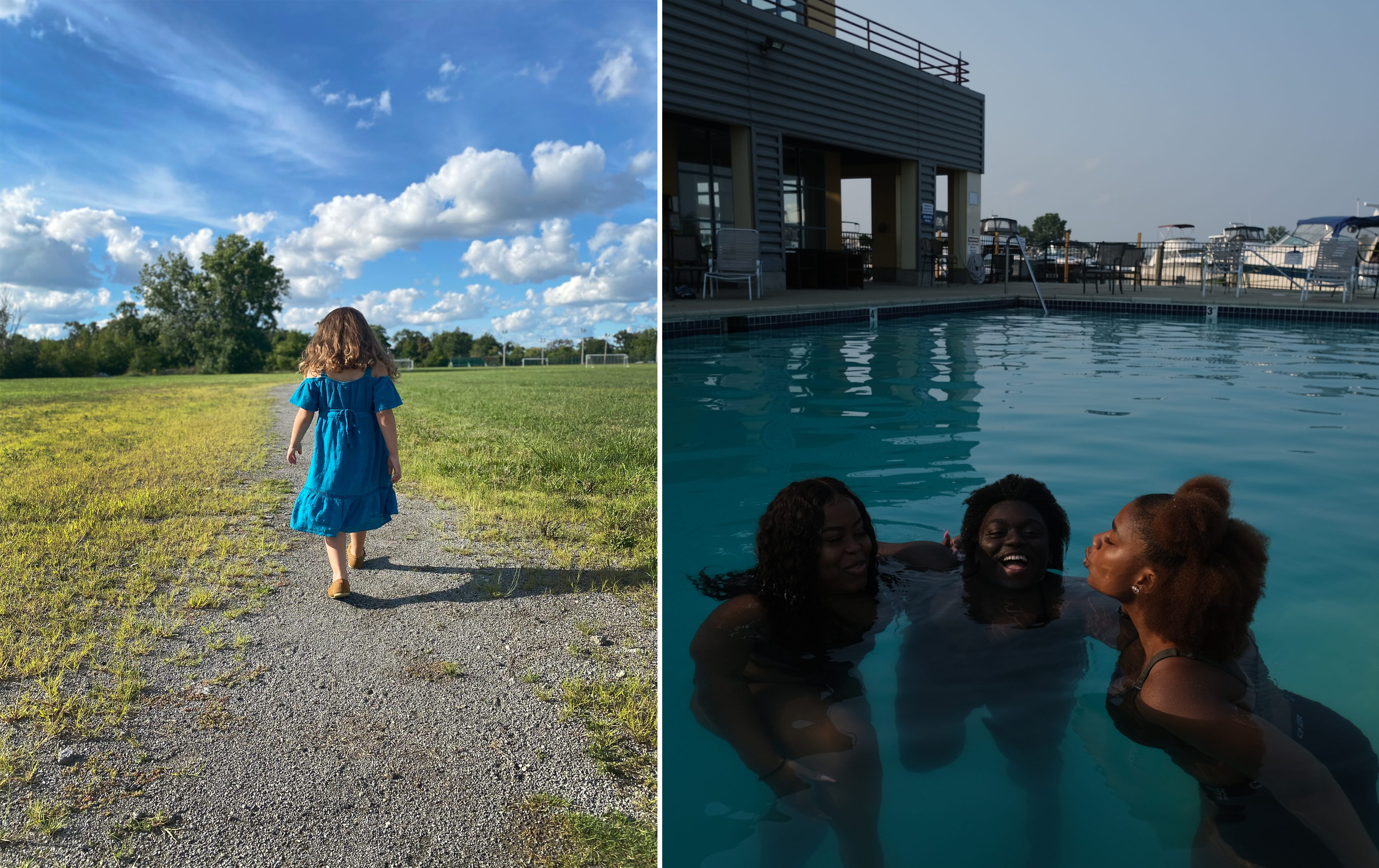 Left: Isadora Hernandez, 3, walks on Belle Isle in Detroit during  an afternoon outing with her family on Saturday August 29, 2020.  Right: (From left) Sarah Wheat,16,  Alexis Harris, 17 and Madison Beatty, 17, enjoy a fun day at the pool at Riverside Marina in Detroit before going back to school.