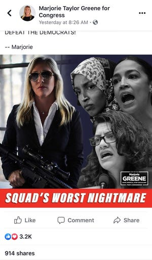 "Georgia Republican congressional candidate Marjorie Taylor Greene posted a gun-toting image on her campaign Facebook page on Thursday, Sept. 3, 2020, about ""squad"" members and U.S. Reps. Rashida Tlaib, D-Detroit; Alexandria Ocasio-Cortez, D-New York; and Ilhan Omar, D-Minnesota"
