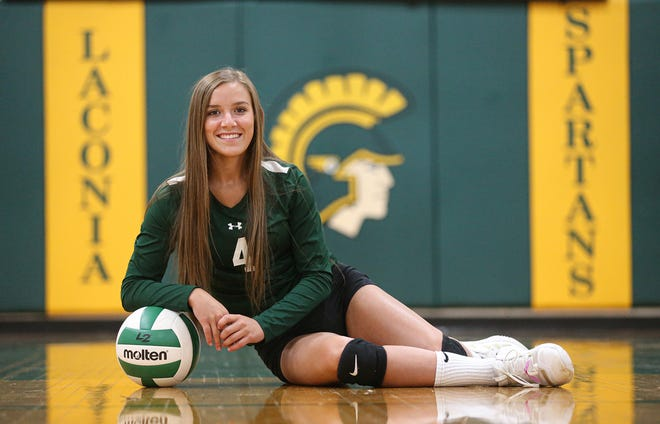 Laconia volleyball player Haley Rens on Sept. 4 in Rosendale.