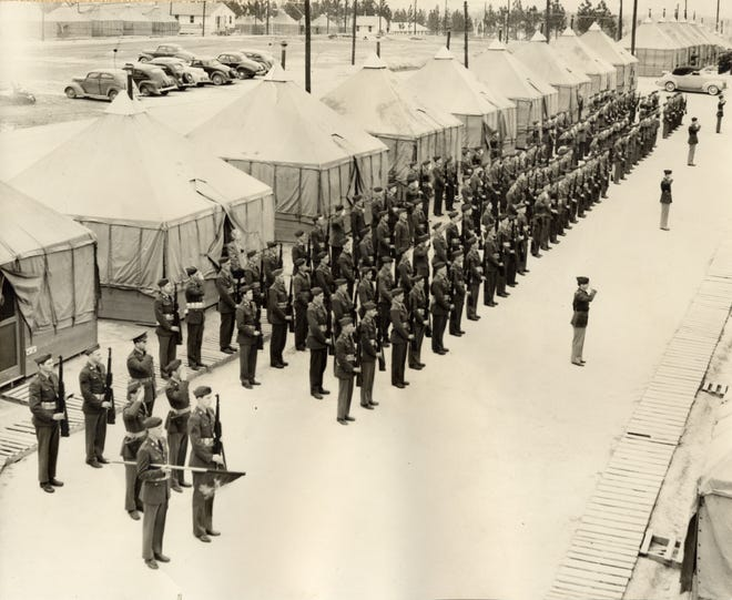 Company B, 148th Infantry, 37th Infantry Division, was organized in Fremont in 1925. Here, the men of Company B marched on parade at Camp Shelby in Mississippi in 1941.