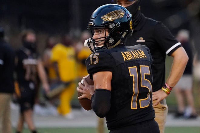 Southern Mississippi quarterback Jack Abraham (15) warms up Thursday, Sept. 3, 2020, for the team's NCAA college football game against South Alabama in Hattiesburg, Miss. (AP Photo/Rogelio V. Solis)