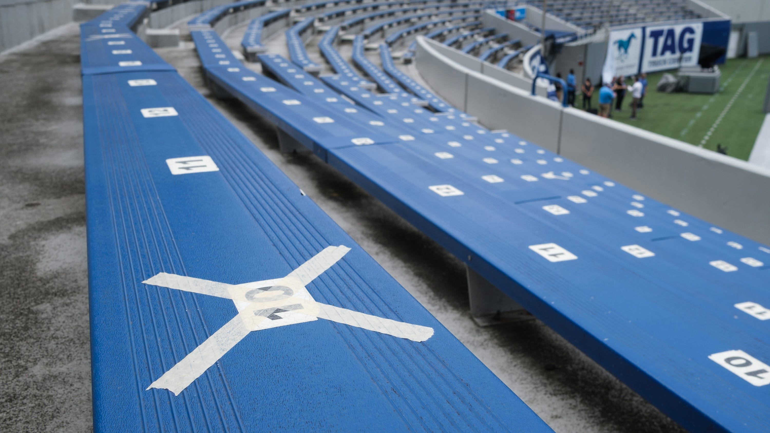 Tape marks off seats in the Liberty Bowl's student section, Friday, Sept. 4, 2020, in Memphis, TN.