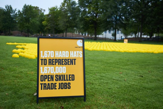 On Friday, Sept. 04, 2020, in advance of the Labor Day holiday, Carhartt unveiled a larger than life installation of 1,670 hard hats at Bicentennial Capitol Mall State Park in Nashville, Tenn. to represent 1.67 million job openings in the skilled trades across the U.S. in June alone, according to the Bureau of Labor Statistics. (Jon Morgan/AP Images for Carhartt)