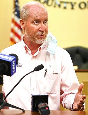 City of York Medical Director Dr. Matt Howie speaks at the York County Administrative Center in York City, Friday, Sept. 4, 2020. The recent uptick in positive COVID-19 testing, specifically at York County Prison, was addressed. Dawn J. Sagert photo