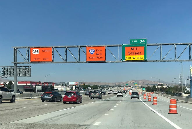 Northbound traffic on Highway 395 is seen approaching the spaghetti bowl in Reno on Sept. 4, 2020.