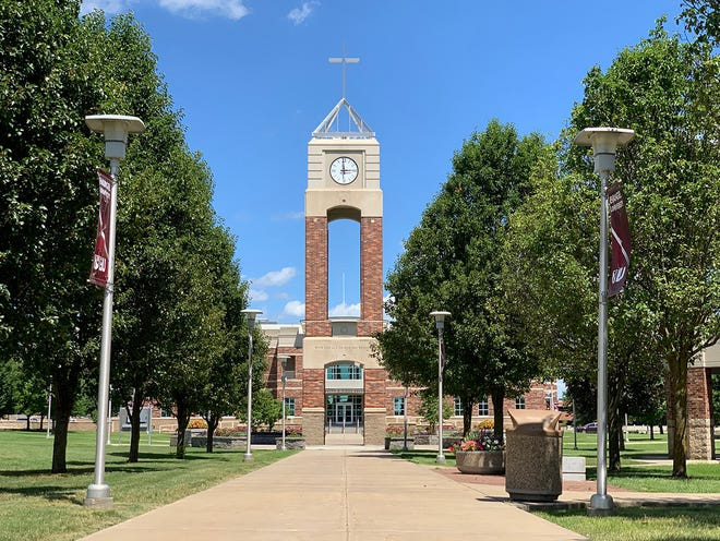 The Evangel University clock tower in Springfield, Mo. is shown in this 2020 photo.