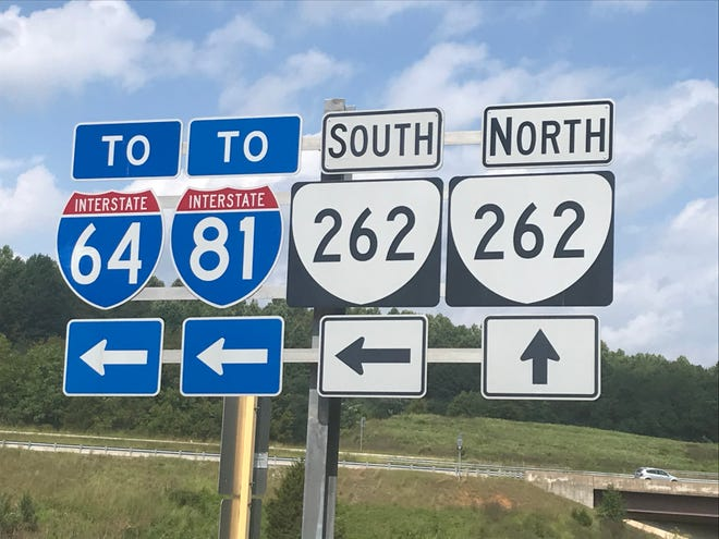 Signs for Va. 262 and the local interstates.