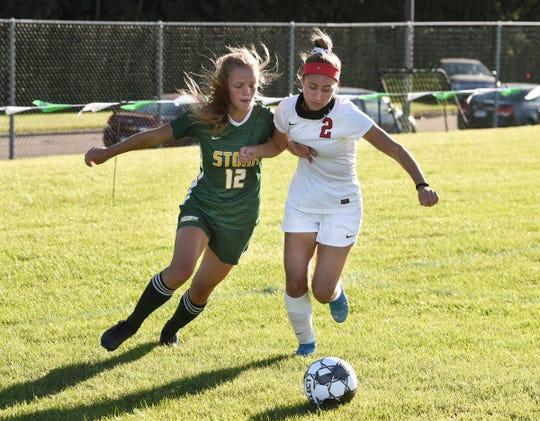 Sauk Rapids junior Chloe Reiter fights for the ball against Alexandria Thursday, Sept. 3, 2020, at Sauk Rapids High School.